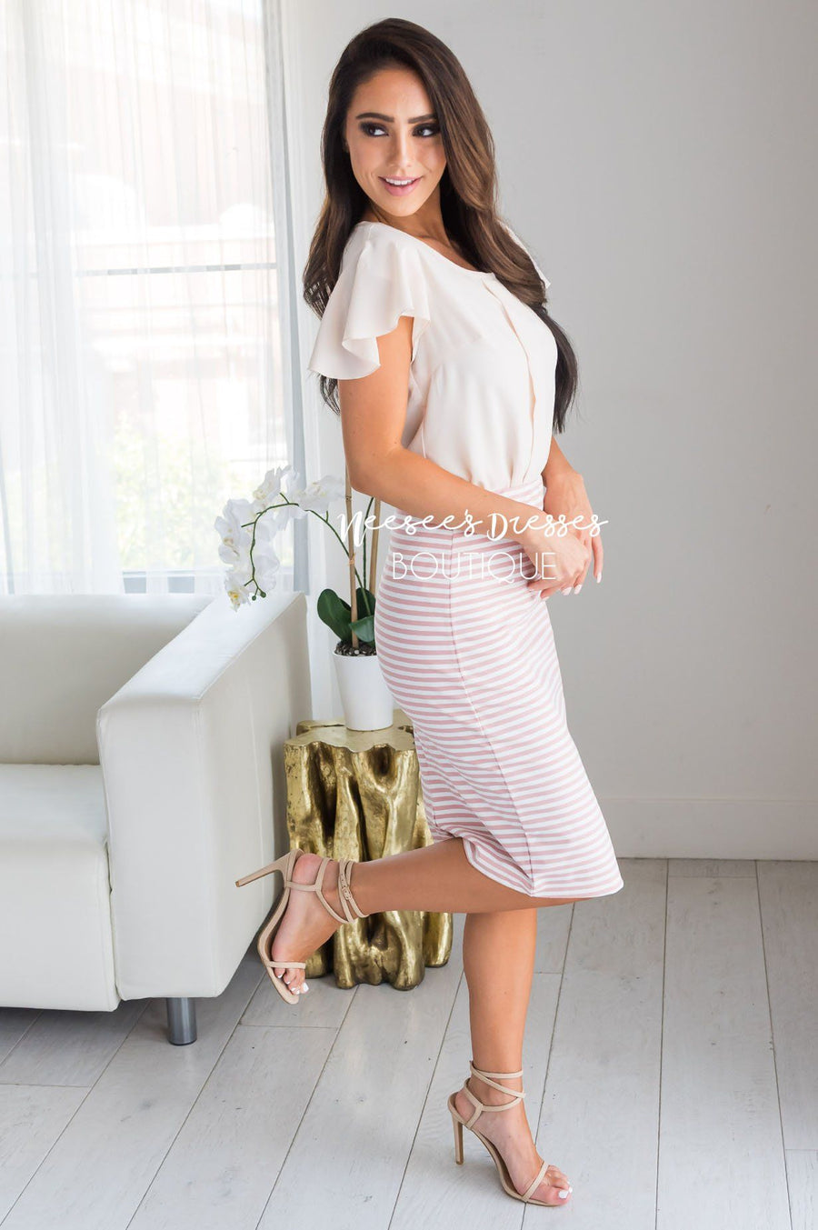 Yesterday Memories Striped Pencil Skirt