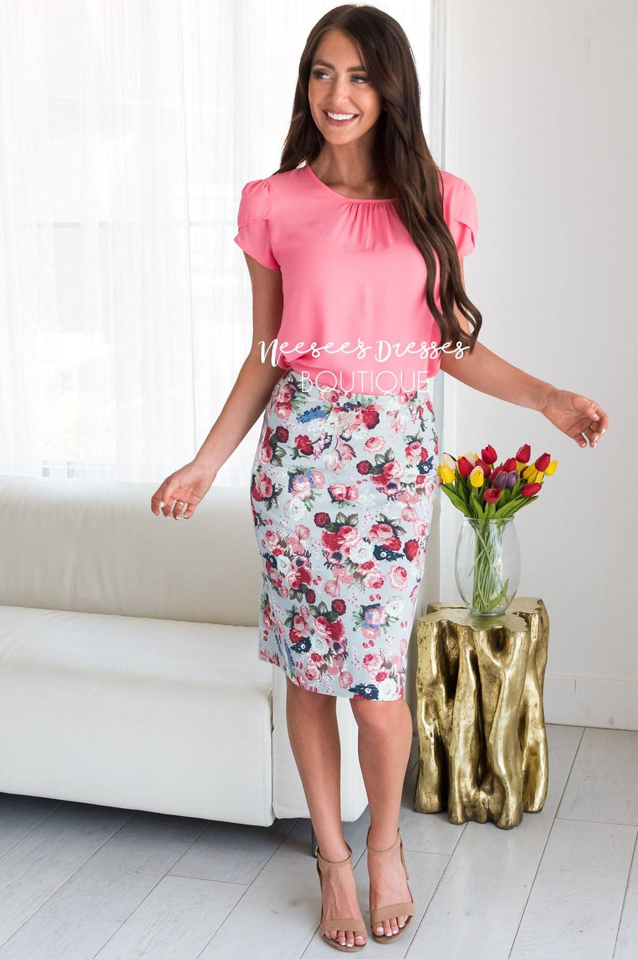 Soft Sage Floral Modest Pencil Skirt
