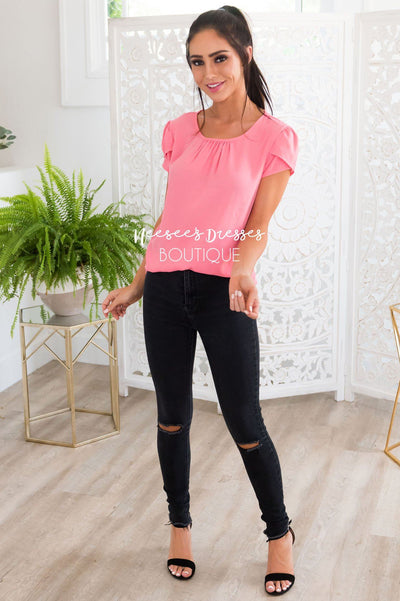 Pink Chiffon Tulip Sleeve Top Tops vendor-unknown