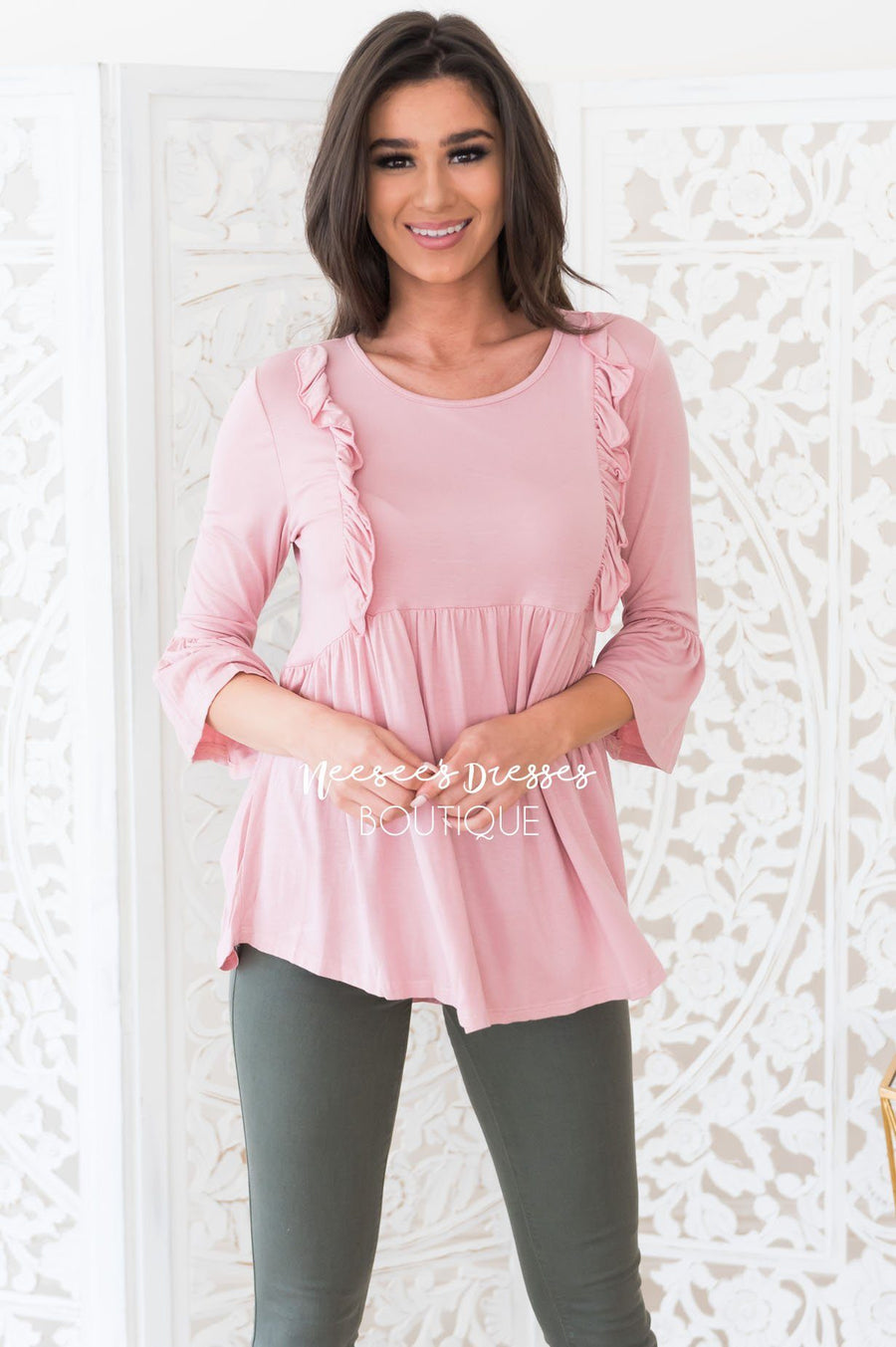 Pretty Please Modest Ruffle Blouse