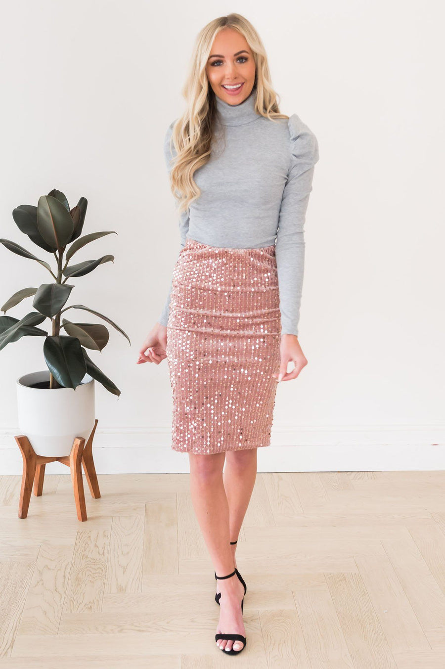 Beautiful Shimmer Modest Sequin Skirt