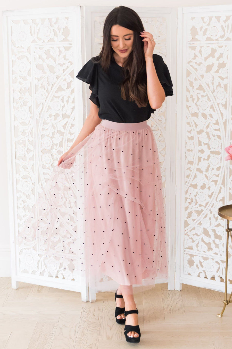 Twirl Away Modest Tulle Skirt