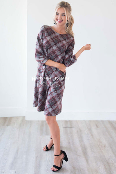 The Teresia Plaid Swing Dress Modest Dresses vendor-unknown