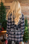 Beautiful Plaid Jacket with Waist Belt Tie Tops vendor-unknown