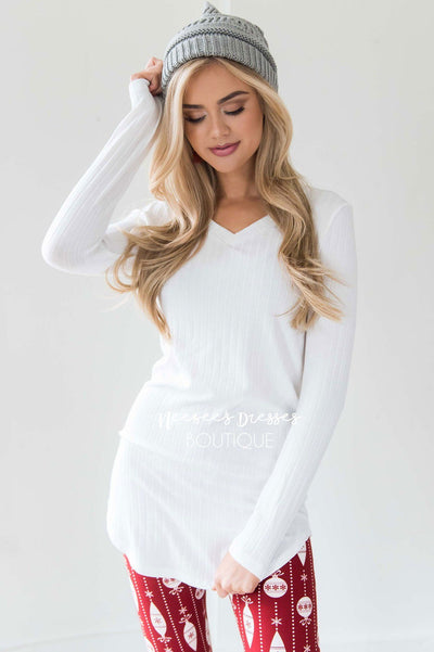 Ribbed Long Sleeve Tunic Tops vendor-unknown