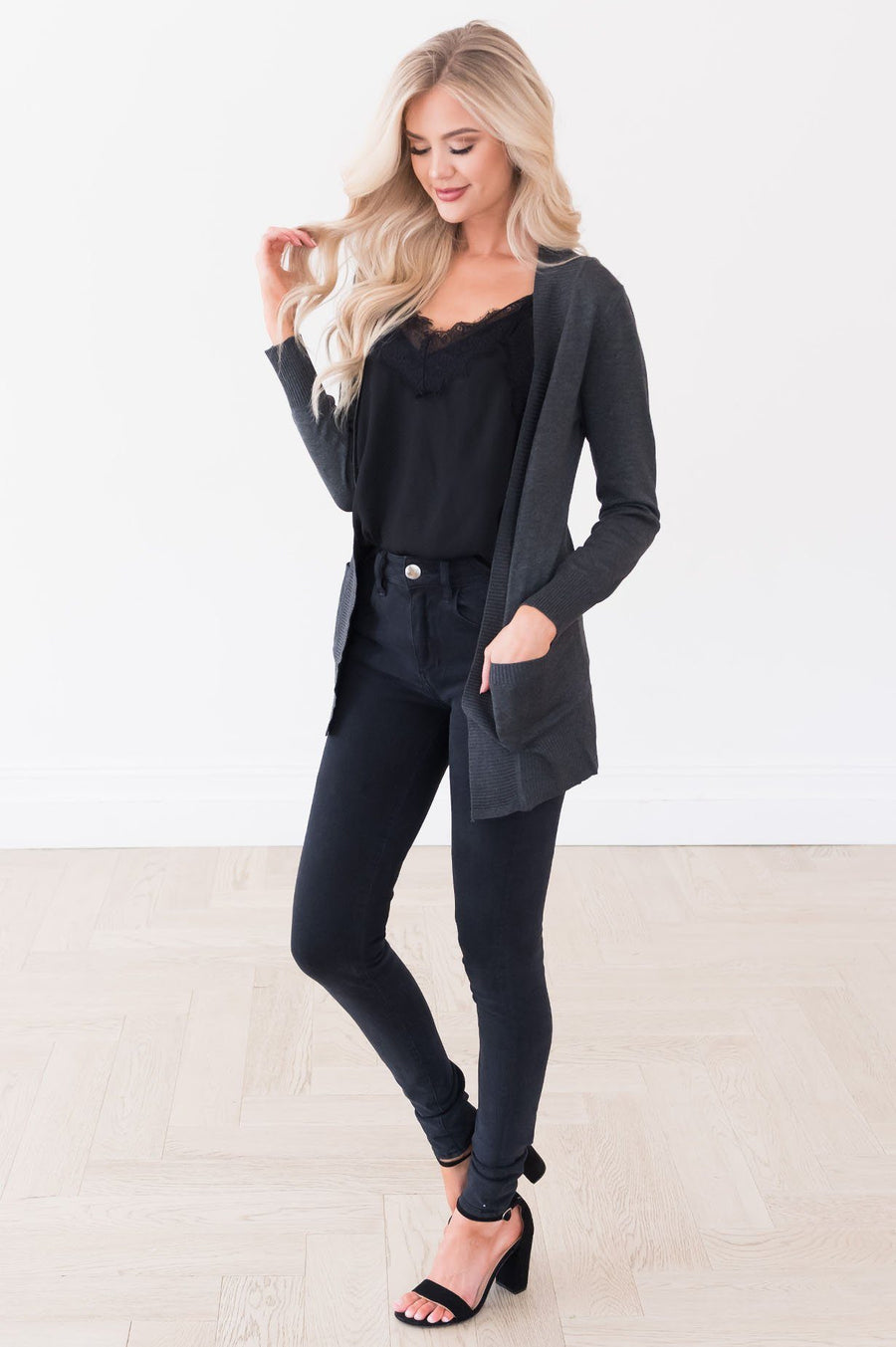 Long Distance Modest Pocket Cardigan