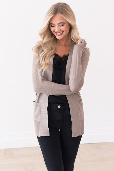 Long Distance Modest Pocket Cardigan Tops vendor-unknown