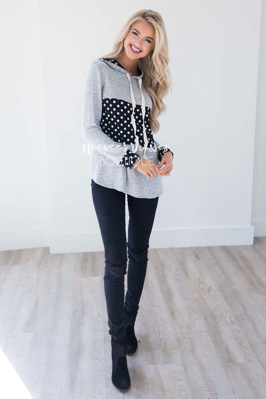 Soft Gray Hoodie with Black & White Polka Dots