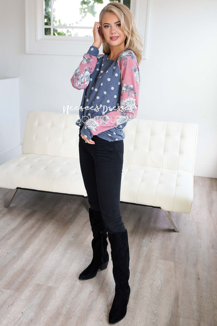 Floral Sleeve & Polka Dot Top