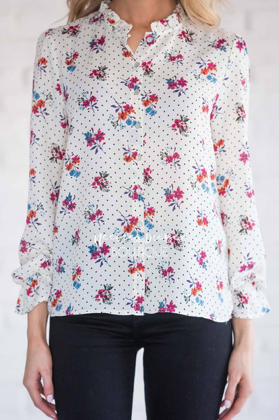 Ruffle Neck Polka Dot Floral Blouse Tops vendor-unknown