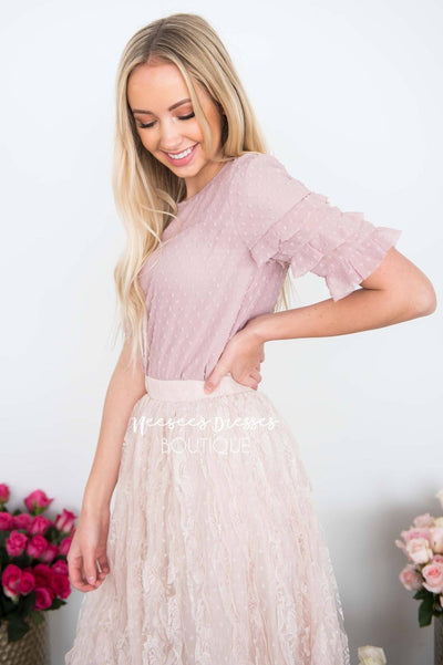 Darling Dotted Ruffle Sleeve Blouse Tops vendor-unknown