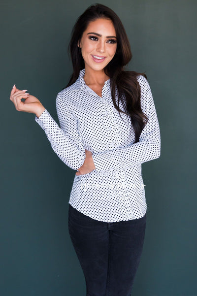 Polka Dot Ruffle Detail Top Tops vendor-unknown