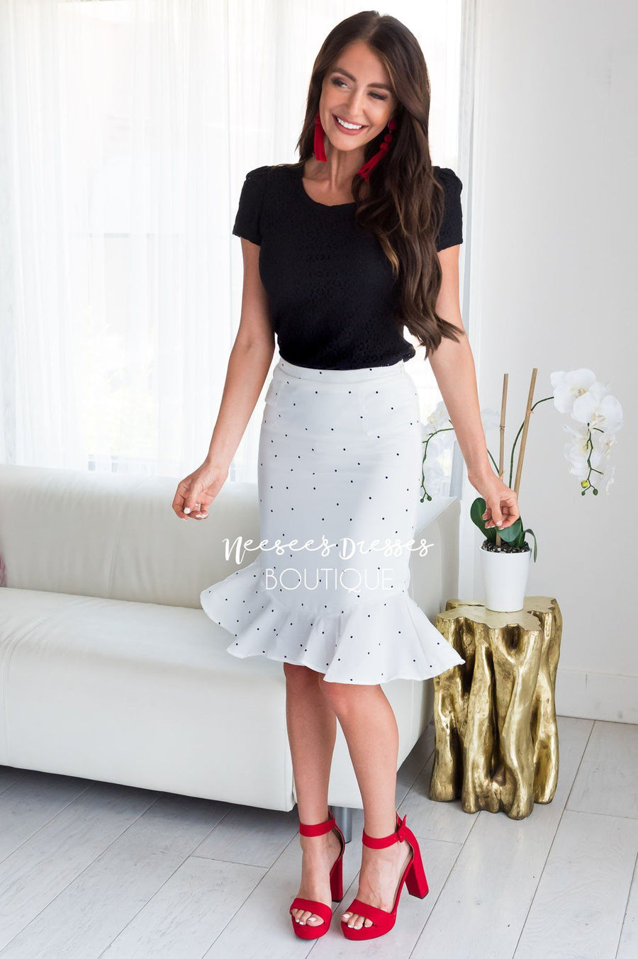 Tiny Polka Dot Ruffle Hem Skirt