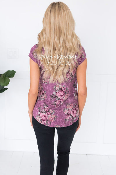 Anytime Floral Modest Top Tops vendor-unknown