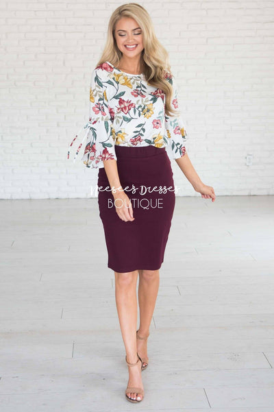 Perfect Fit Raisin Pencil Skirt Skirts vendor-unknown