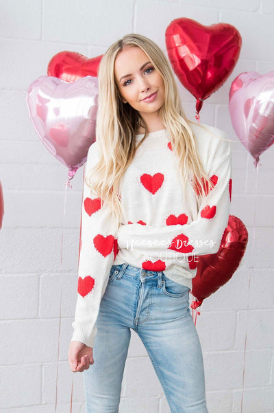 Sprinkled with Hearts Sweater Tops vendor-unknown