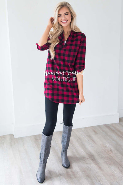 Cute in Plaid Flannel Tunic Tops vendor-unknown