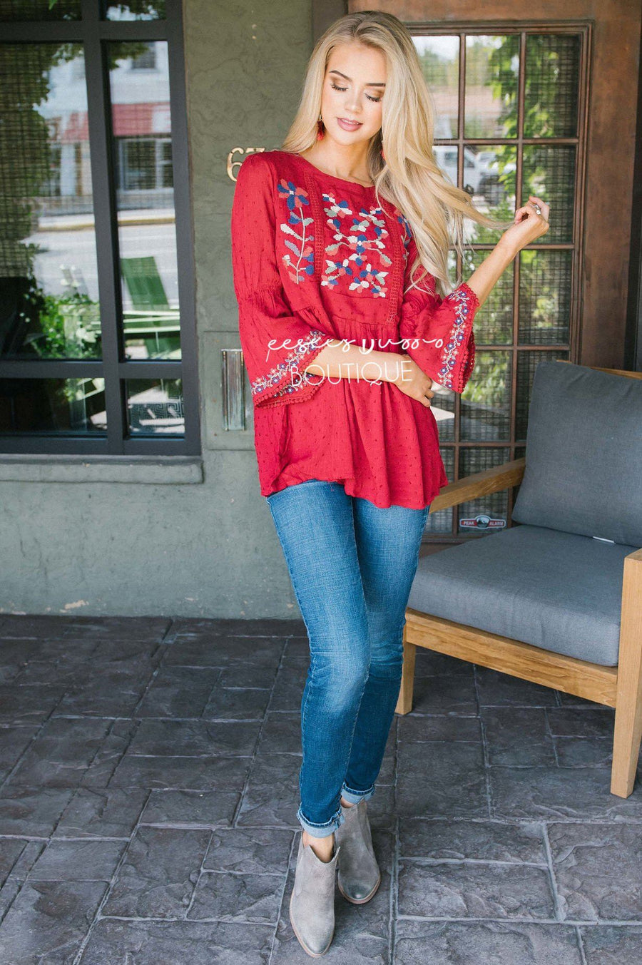 Vivid Fall Embroidered Peplum Top