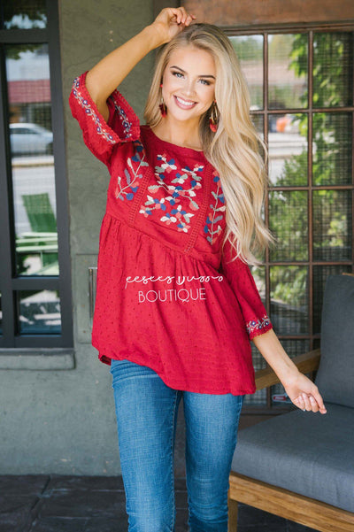 Vivid Fall Embroidered Peplum Top Tops vendor-unknown