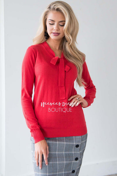 Feels Like Love Tie Neck Sweater Tops vendor-unknown