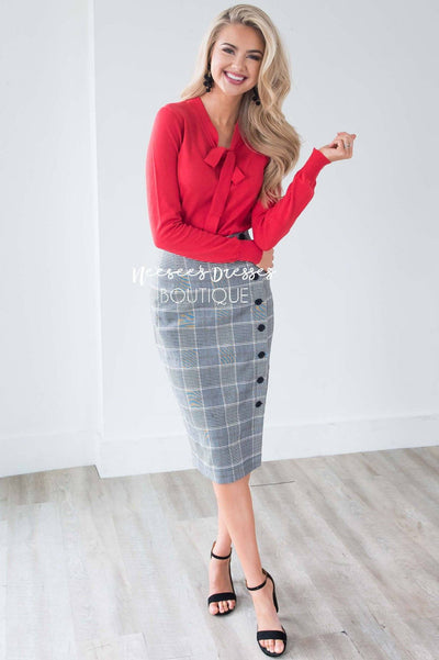 Button Front Glenn Plaid Skirt Skirts vendor-unknown