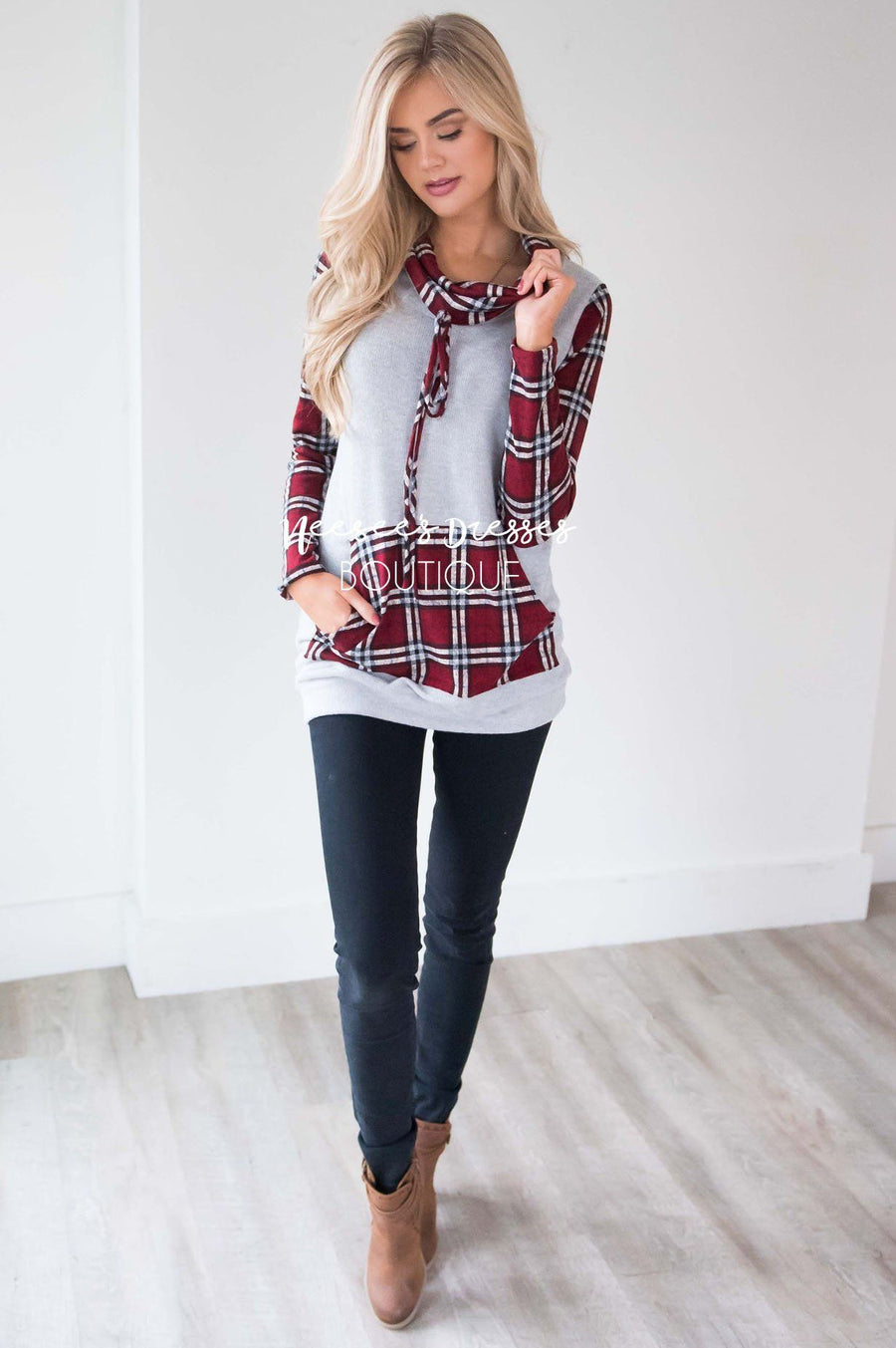 Holly Jolly Plaid Cowl Neck Hoodie