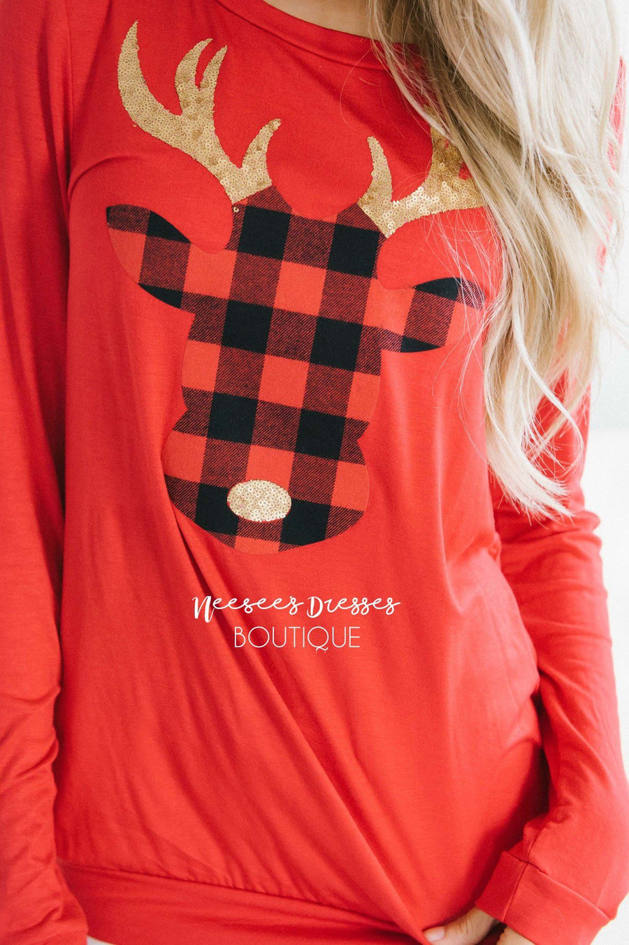 Sleigh Ride Plaid Reindeer Sweater