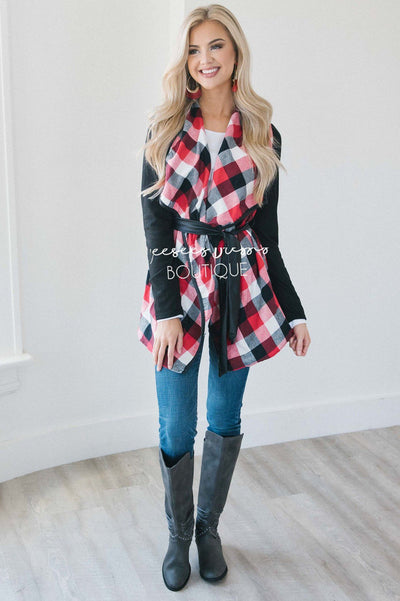 Plaid Tie Waist Coat Tops vendor-unknown