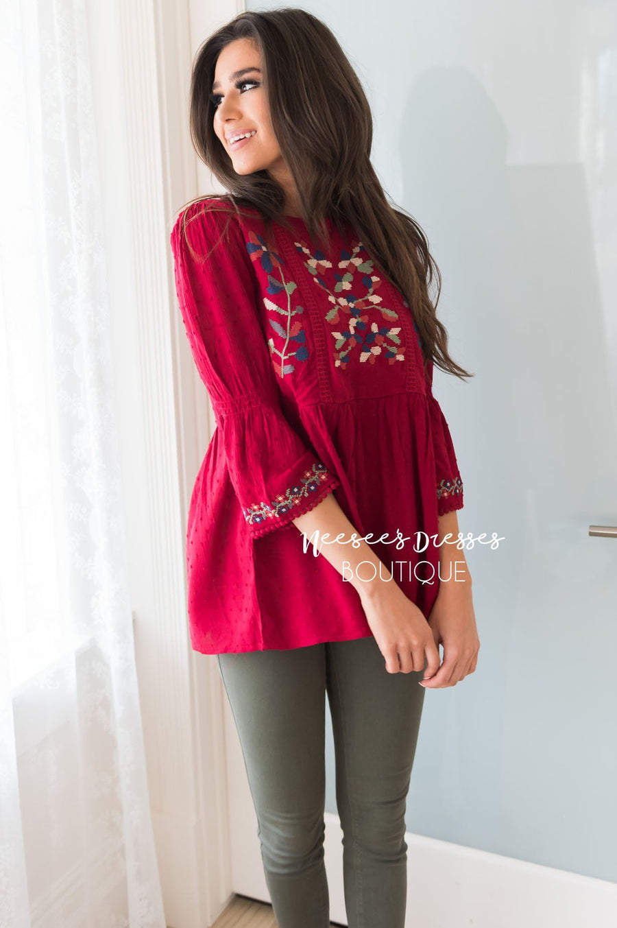 Looking Up Modest Embroidered Blouse