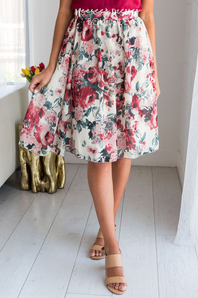 Cream & Mauve Watercolor Floral Skirt Skirts vendor-unknown