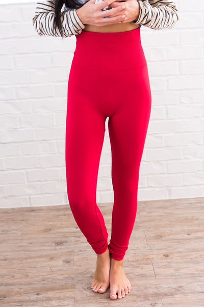 Red Fleece Leggings Accessories & Shoes vendor-unknown