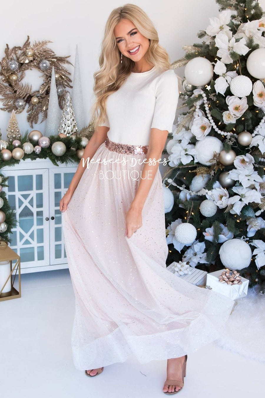 Rose Gold Tulle Maxi Skirt