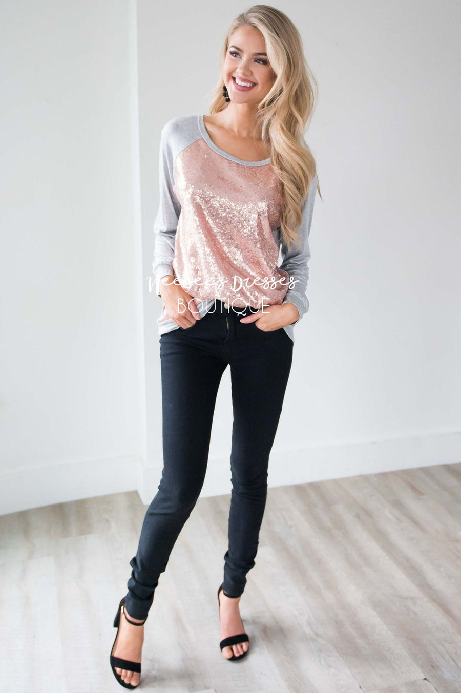 Rose Gold Sequin Long Sleeve Top
