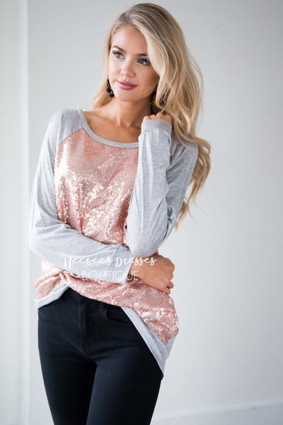 Rose Gold Sequin Long Sleeve Top Tops vendor-unknown