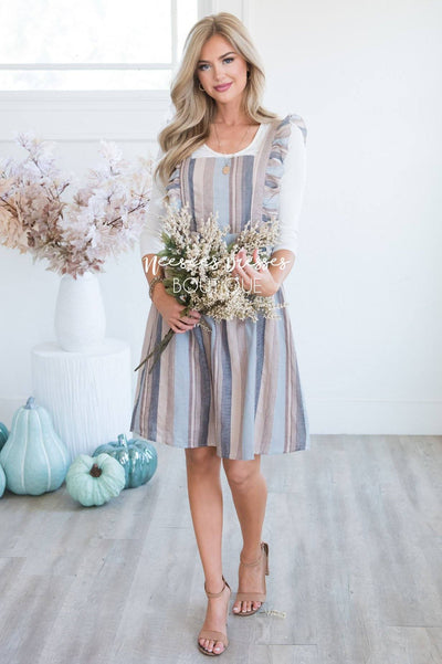 The Jayne Striped Ruffle Overall Dress Modest Dresses vendor-unknown
