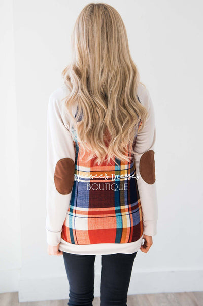 Rust Plaid Elbow Patch Sweater Tops vendor-unknown