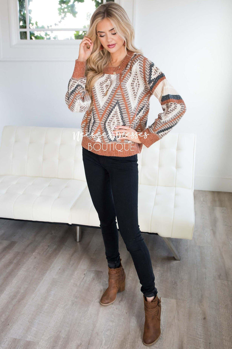 Keep Me Cozy Diamond Knit Sweater