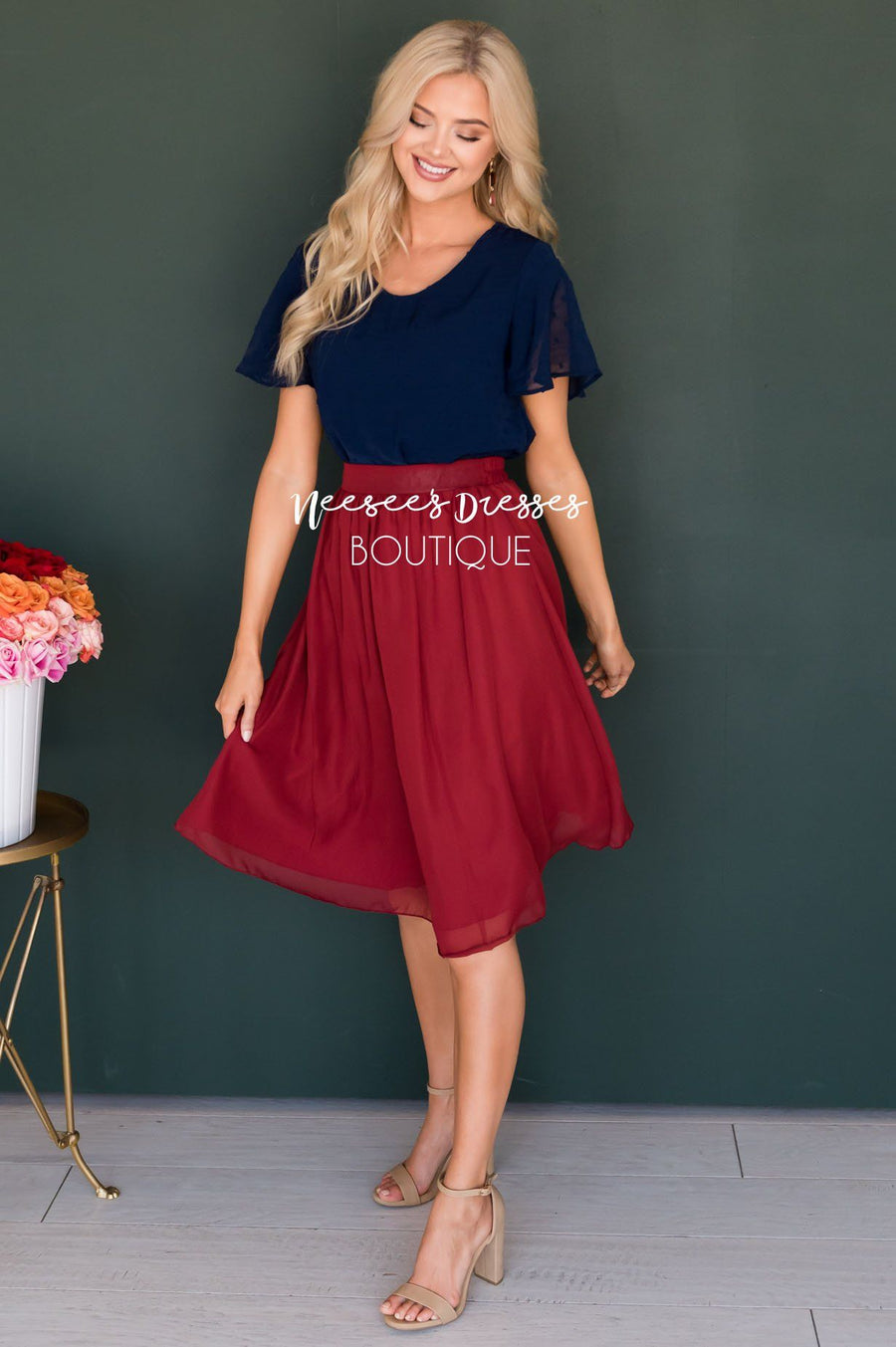 Deep Rust Chiffon Skirt Skirts vendor-unknown