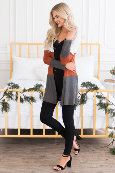 Candy Corn Modest Thermal Cardigan Modest Dresses vendor-unknown