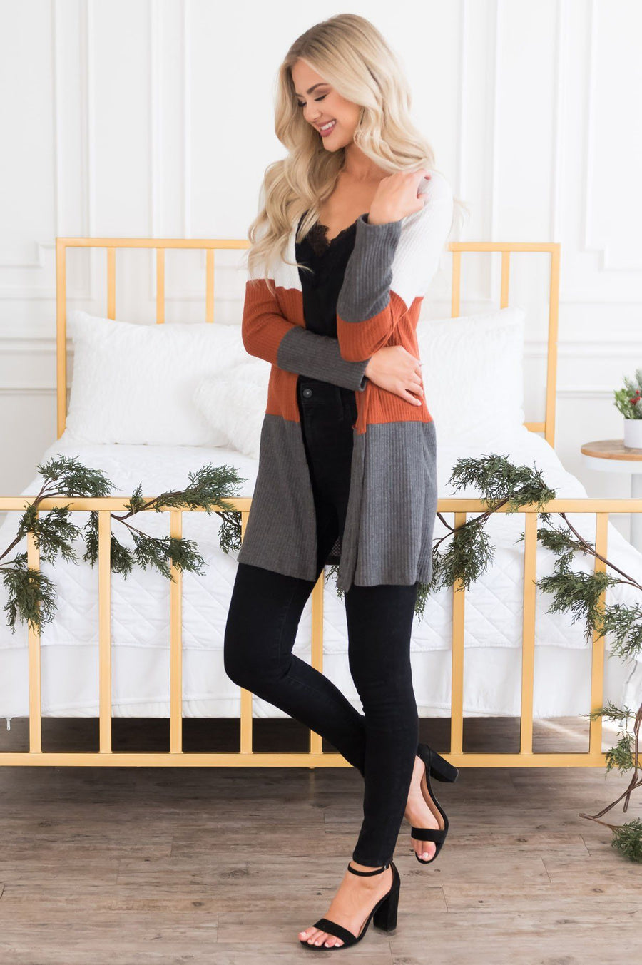 Candy Corn Modest Thermal Cardigan