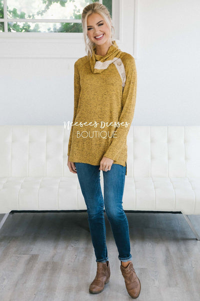 Lace & Buttons Cowl Neck Sweater