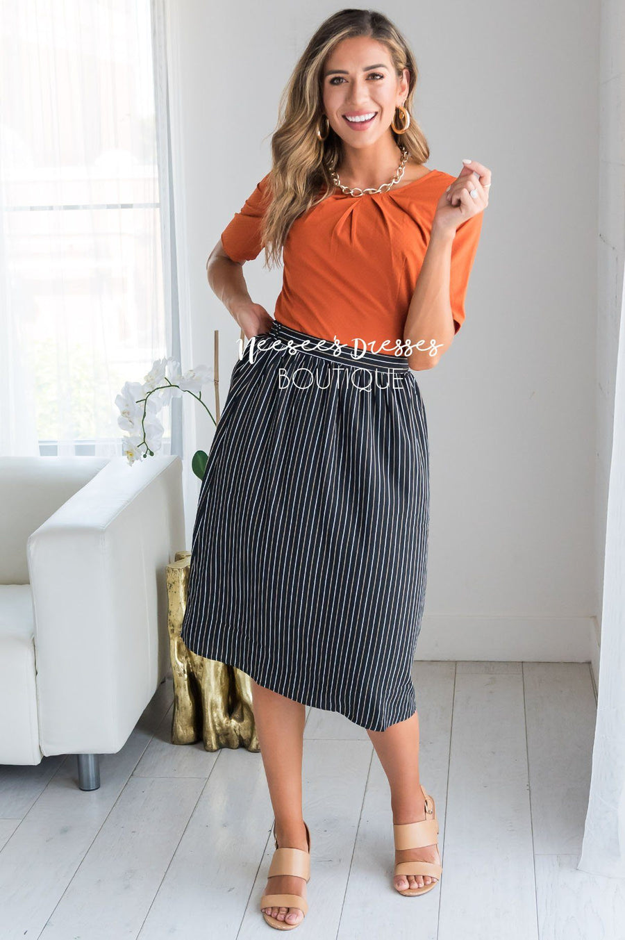An Elegant Night Pinstripe Skirt