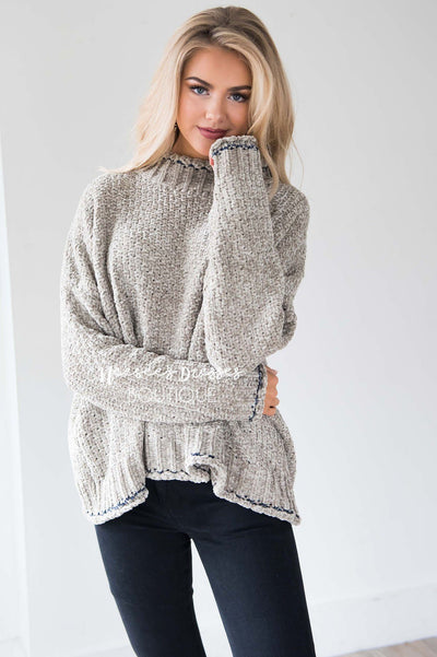 Soft Chenille Contrast Stitch Knit Sweater