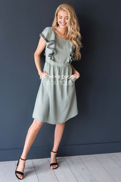 The Megan Ruffle Trim Dress Modest Dresses vendor-unknown