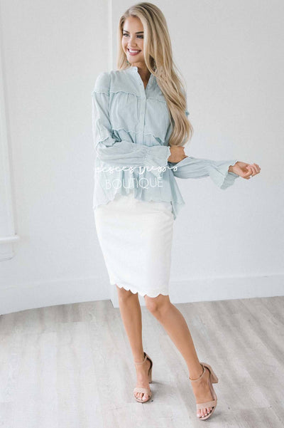 Ruffle & Buttons Tiered Blouse Tops vendor-unknown