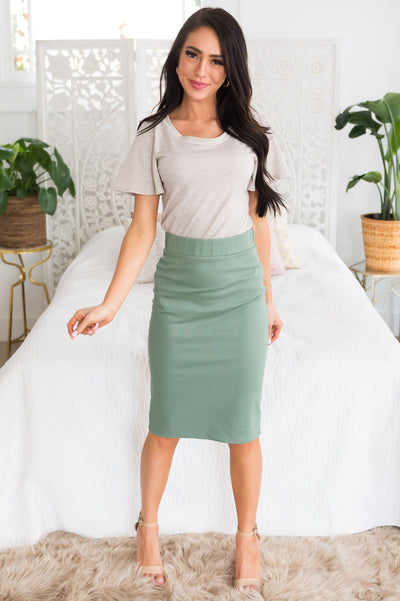 Perfect Fit Sage Pencil Skirt Skirts vendor-unknown
