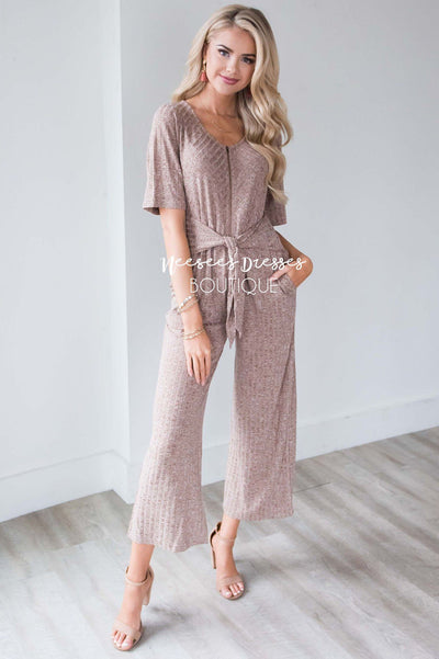 Mocha Zipper & Tie Front Jumpsuit Modest Dresses vendor-unknown