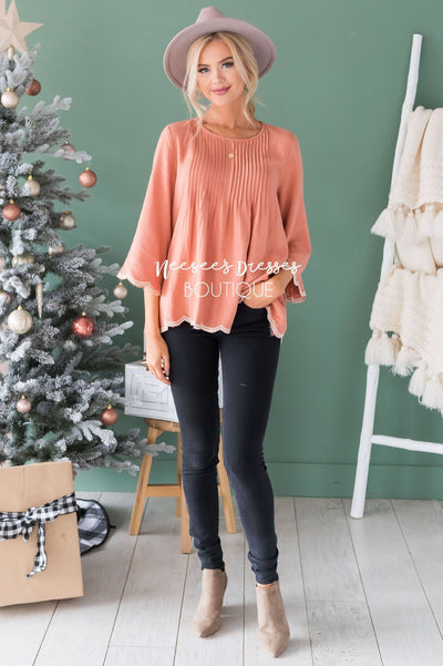 Always There Scalloped Trim Blouse Tops vendor-unknown