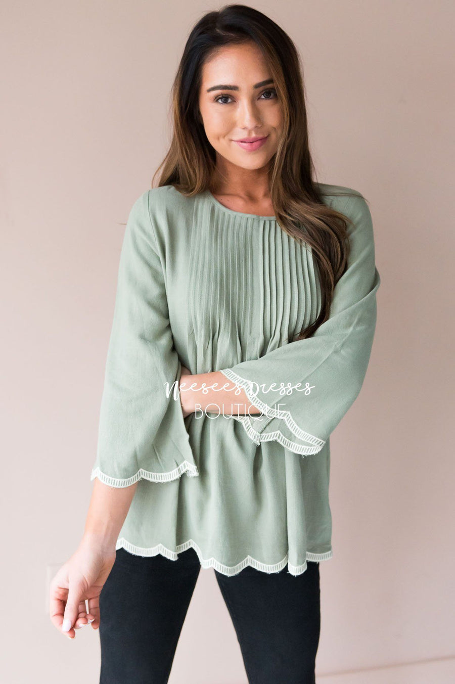 Always There Scalloped Trim Blouse
