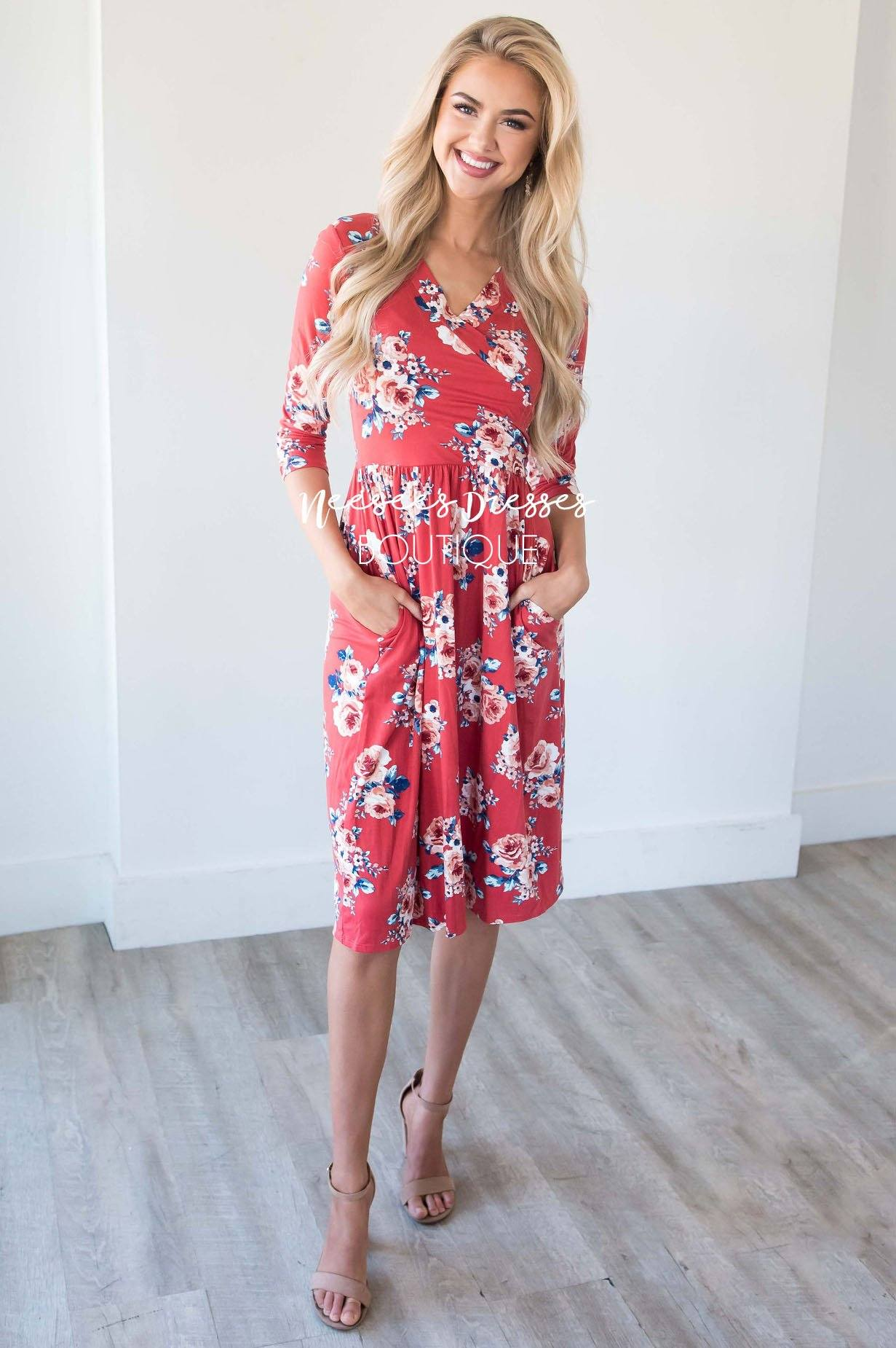 b2b29182f3c6 Dusty Coral Cross Front Pocket Dress | Best Modest Dress Boutique -  Neesee's Dresses